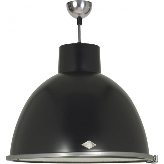 Vintage Metal Pendant Ceiling Light In Dramatic Black