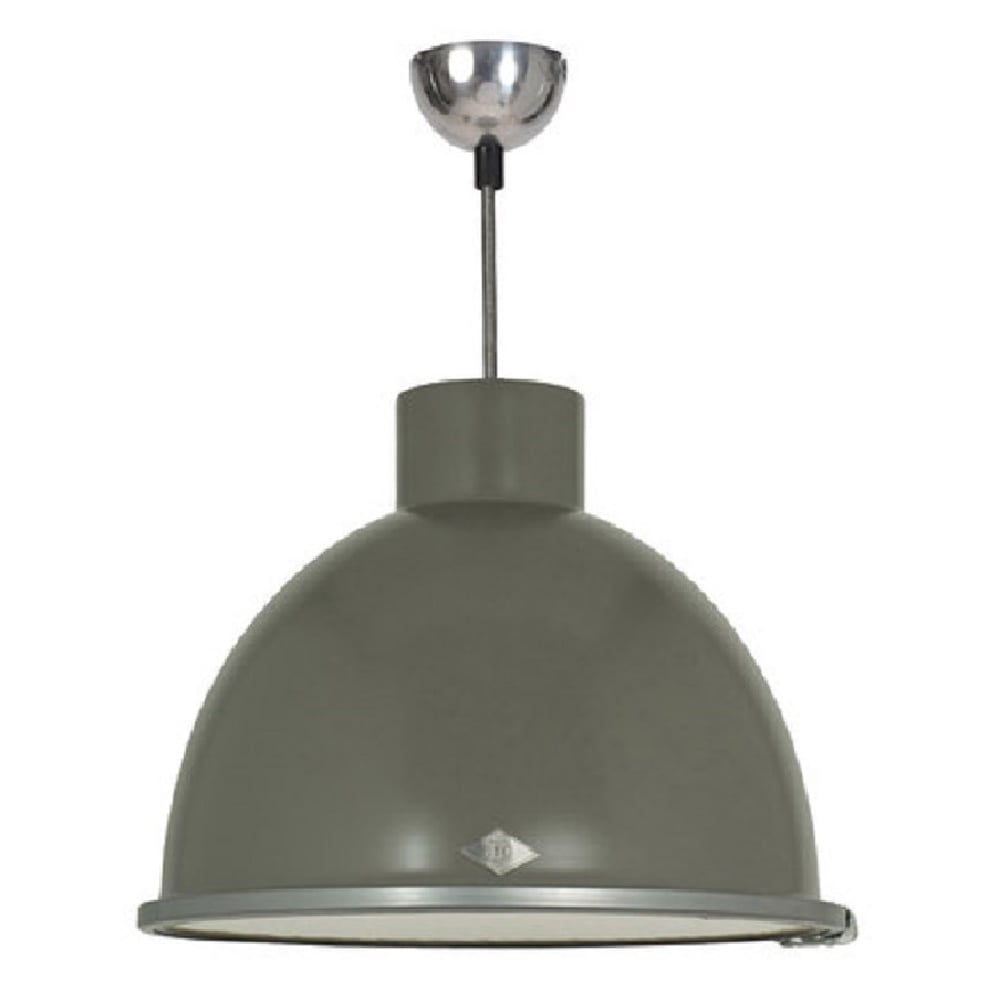 Ceiling Pendant in Stone Grey Painted Aluminium with Vintage Cable