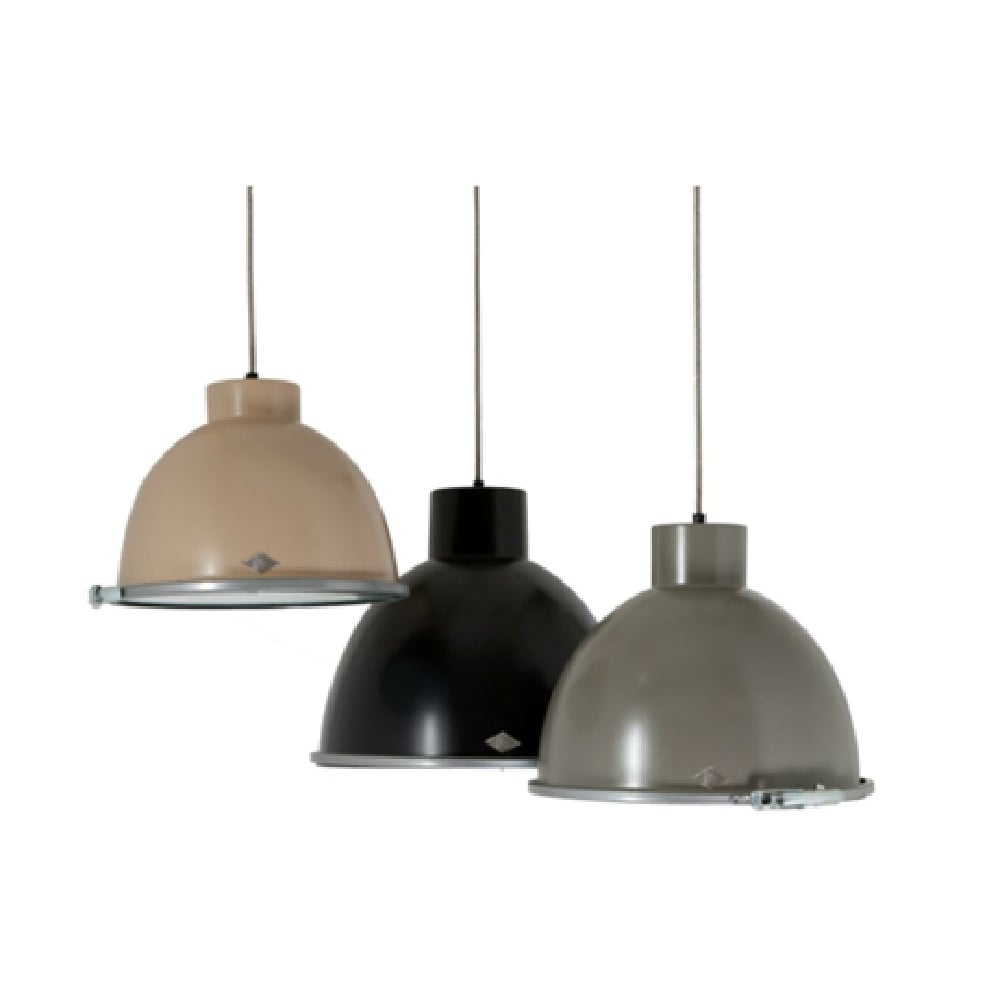 GIANT 2 Stone Grey Industrial Ceiling Pendant Light With Wired Glass Diffuser