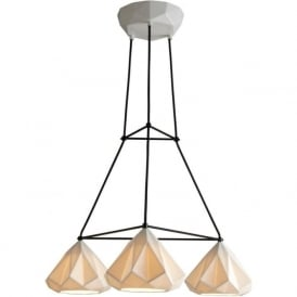 HATTON 1 cluster of 3 geometric design ceramic bone china ceiling pendants in triangular grouping