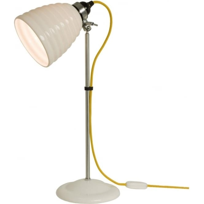 Hector bibendum white ceramic table lamp or desk light yellow cable hector bibendum modern table light with natural white china shade and yellow cable aloadofball Image collections