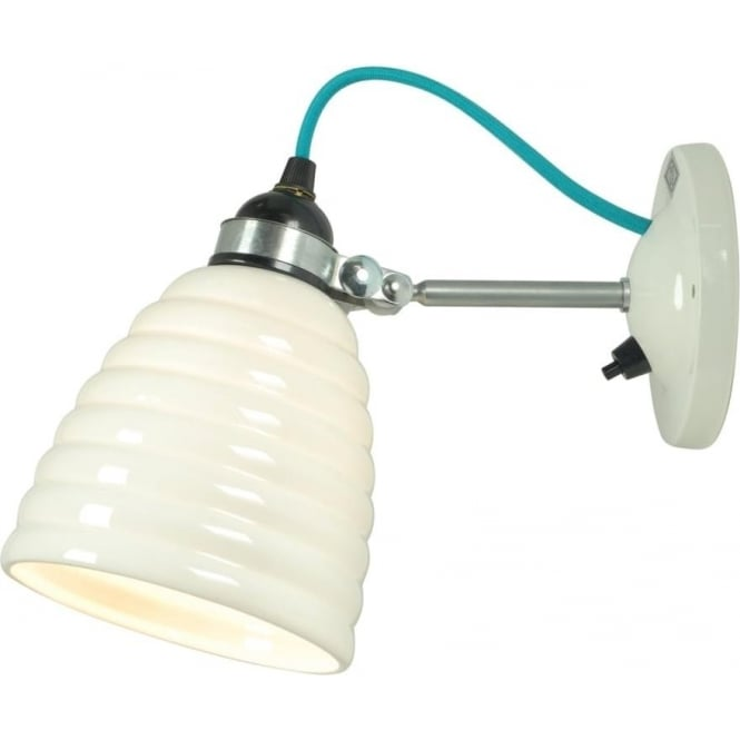 White ceramic hector bibendum wall light with funky turquoise cable hector bibendum modern wall light with white china shade and turquoise cable switched aloadofball Gallery