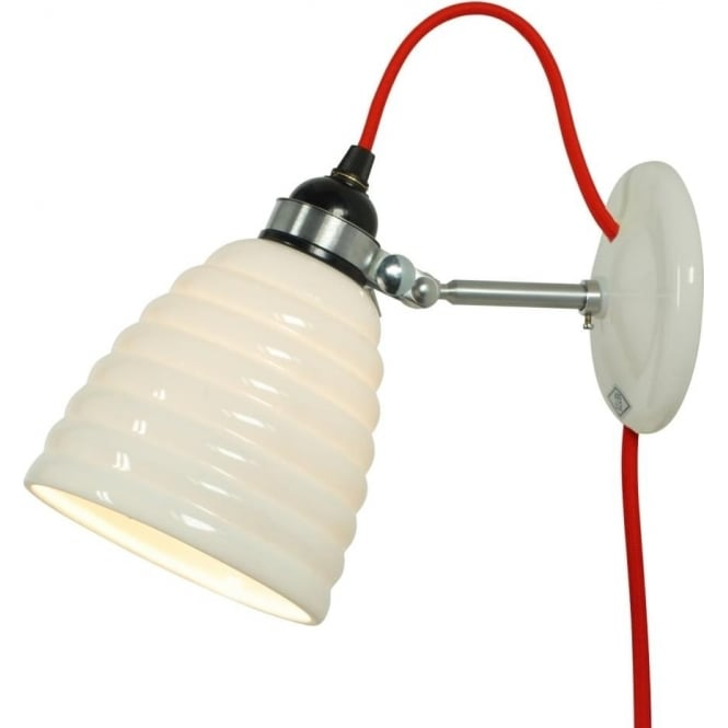 Plug In White Ceramic Wall Light With Funky Red Braided Cable