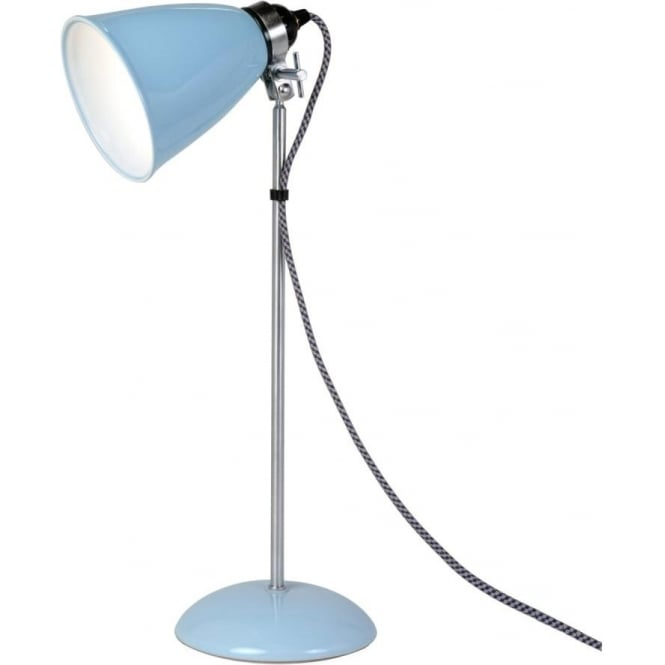 Hector dome desk light adjustable blue ceramic shade and braided cable hector dome pale blue bone china table lamp or desk light medium aloadofball Image collections