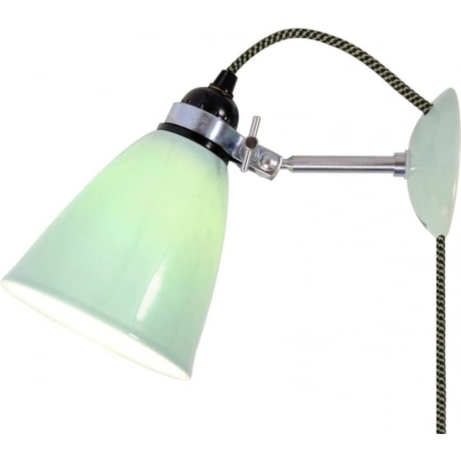 Easy no wire wall light that plug into socket adjustable green shade hector dome plug in wall light with pale green china shade and braided cable medium mozeypictures Gallery