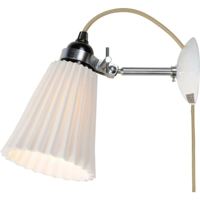Hector Pleat White China Wall Light that Plugs Into 13amp Socket