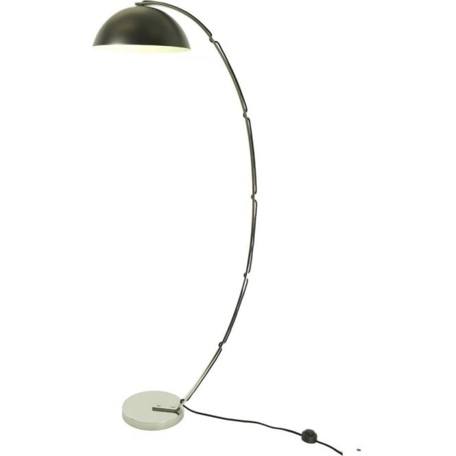 London floor light with curved chrome arm and black aluminium shade london retro style curved chrome floor lamp with black dome shade aloadofball Image collections