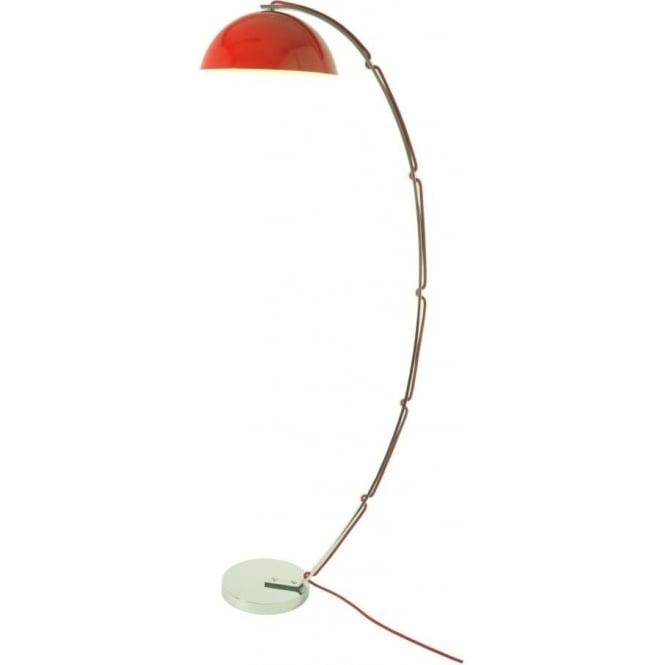 Original BTC London Overreach Floor Lamp in Chrome with Red Shade