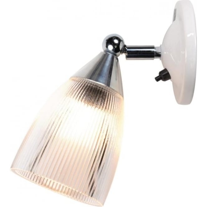 Modern Adjustable Wall Lights : Single Wall Light with Adjustable Prismatic Glass Shade with Switch