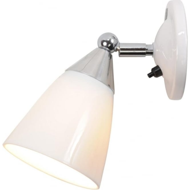 Contemporary Switched Wall Lights : White Bone China Single Wall Light with Moveable and Angled Shade