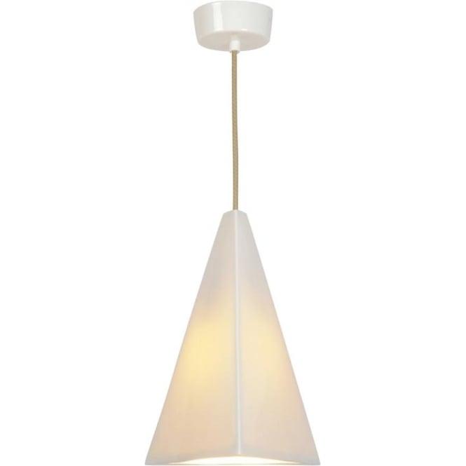 White Ceramic Ceiling Pendant Light Hanging On Cream