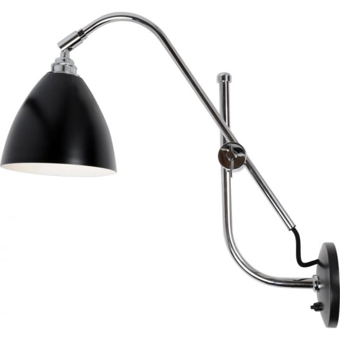 TASK Modern Cantilever Adjustable Arm Black And Chrome Wall Light