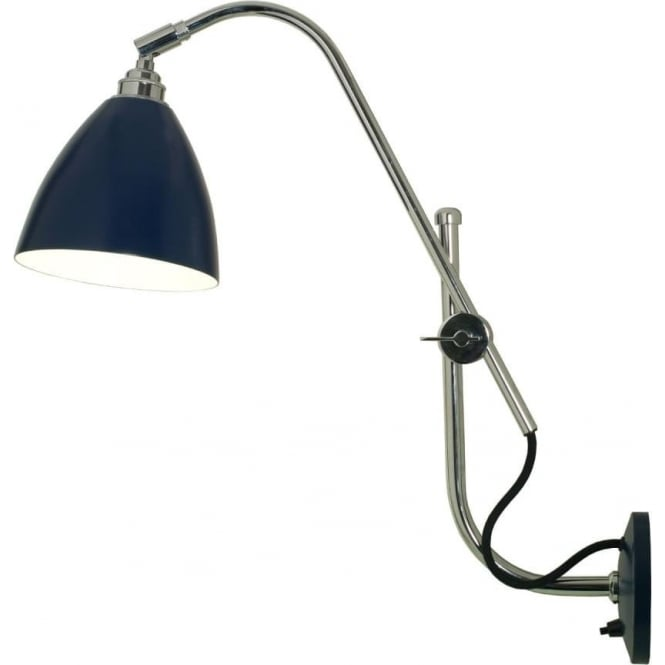 TASK Modern Cantilever Adjustable Arm Blue And Chrome Wall Light