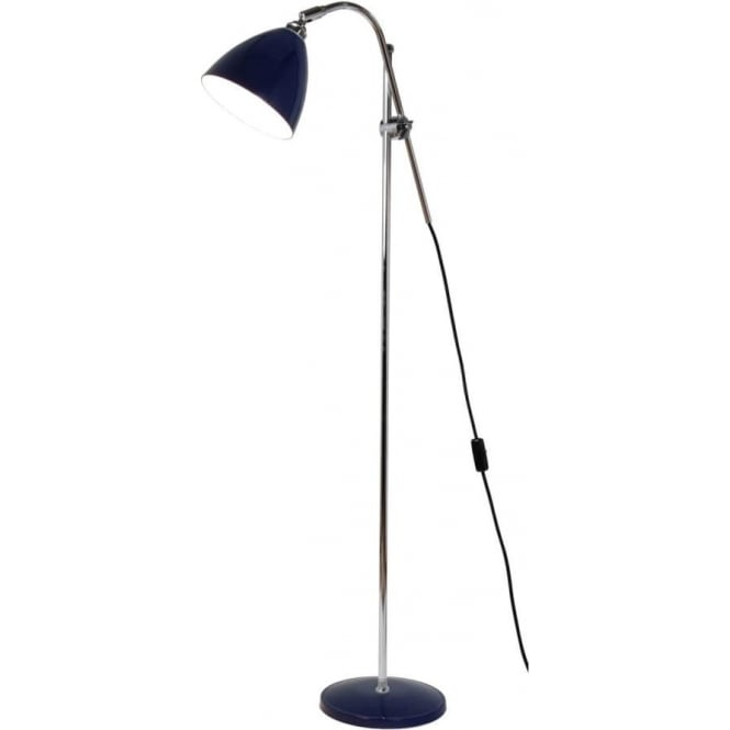 TASK Modern Chrome Floor Lamp With Adjustable Cantilever Arm And Blue Shade