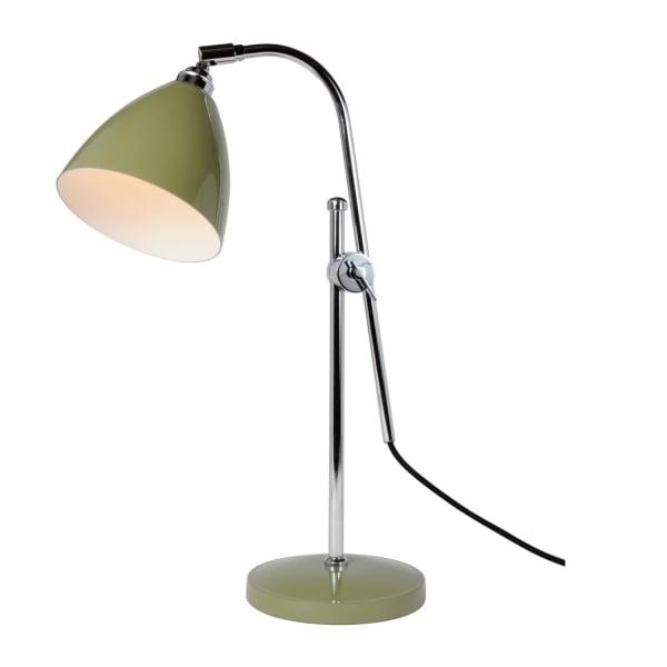 Olive Green Desk Lamp Or Bedside Reading Light With Chrome