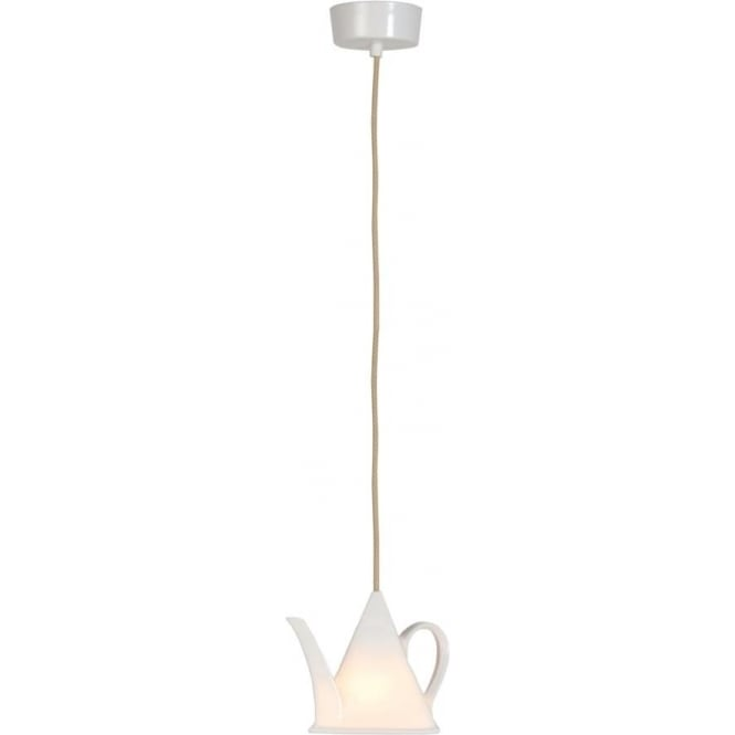 Quirky Ceiling Light With Translucent White China Teapot Shade