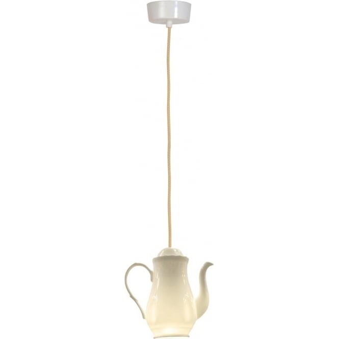 White China Teapot Ceiling Pendant Light With Vintage