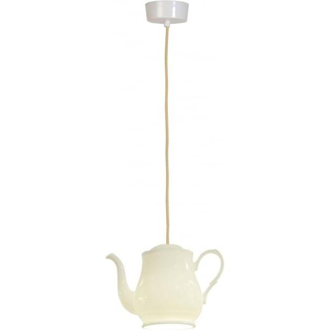 White Bone China Teapot Ceiling Light Hanging On Vintage