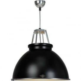 TITAN size 3 black aluminium ceiling pendant with glass diffuser