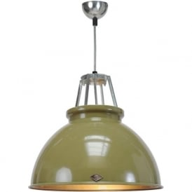 TITAN size 3 olive green aluminium ceiling pendant with bronze interior