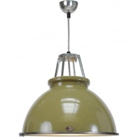 TITAN size 3 olive green aluminium ceiling pendant with glass diffuser