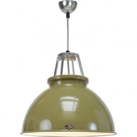 TITAN size 3 olive green aluminium ceiling pendant with white interior