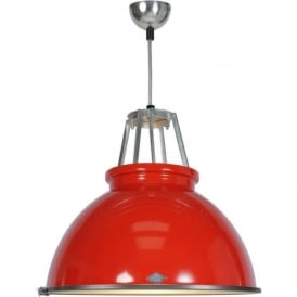 TITAN size 3 red aluminium ceiling pendant with glass diffuser