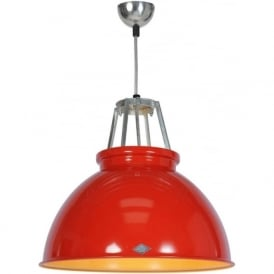 TITAN size 3 red aluminium ceiling pendant with gold interior