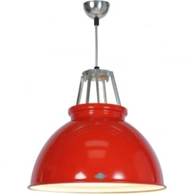 TITAN size 3 red aluminium ceiling pendant with white interior