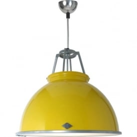TITAN size 3 yellow aluminium ceiling pendant with glass diffuser