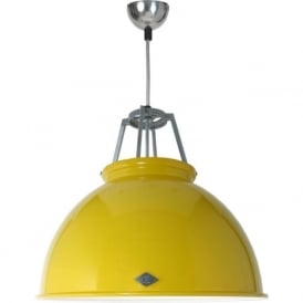 TITAN size 3 yellow aluminium ceiling pendant with white interior