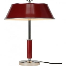 VICTOR stylish chrome table lamp with burgundy red aluminium shade
