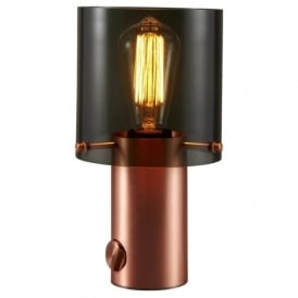 WALTER modern satin copper table light with anthracite glass shade - size 1
