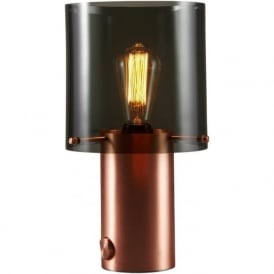 WALTER modern satin copper table light with anthracite glass shade - size 2