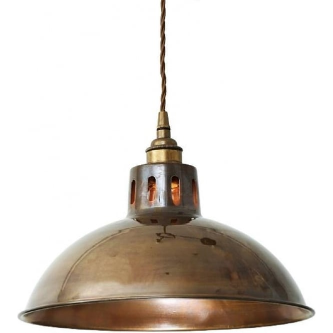 Antique Brass Factory Style Ceiling Pendant Hanging On Braid Cable