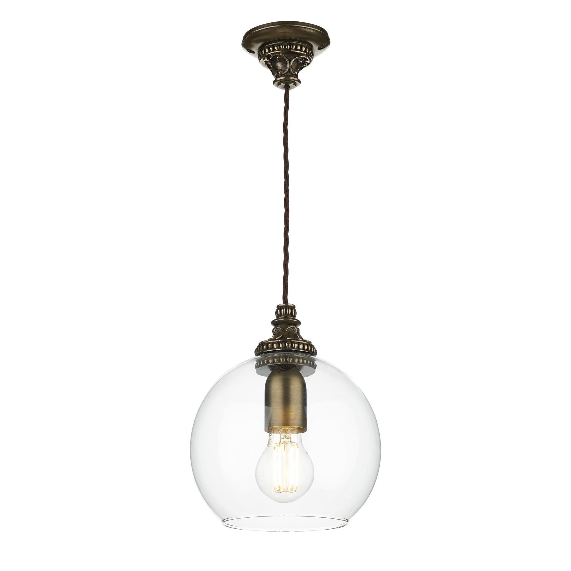 Clear Round Glass Ceiling Pendant On Traditional Bronze Suspension