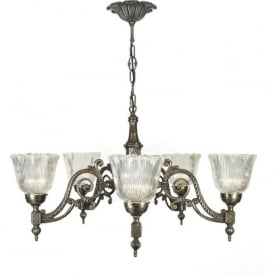 ALBERT aged brass chandelier, halophane glass shades