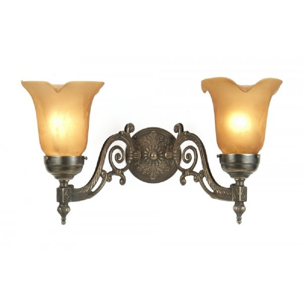 Victorian Style Aged Brass Double Wall Light with Amber Glass Shades