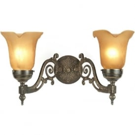 ALBERT decorative Victorian aged brass double wall light
