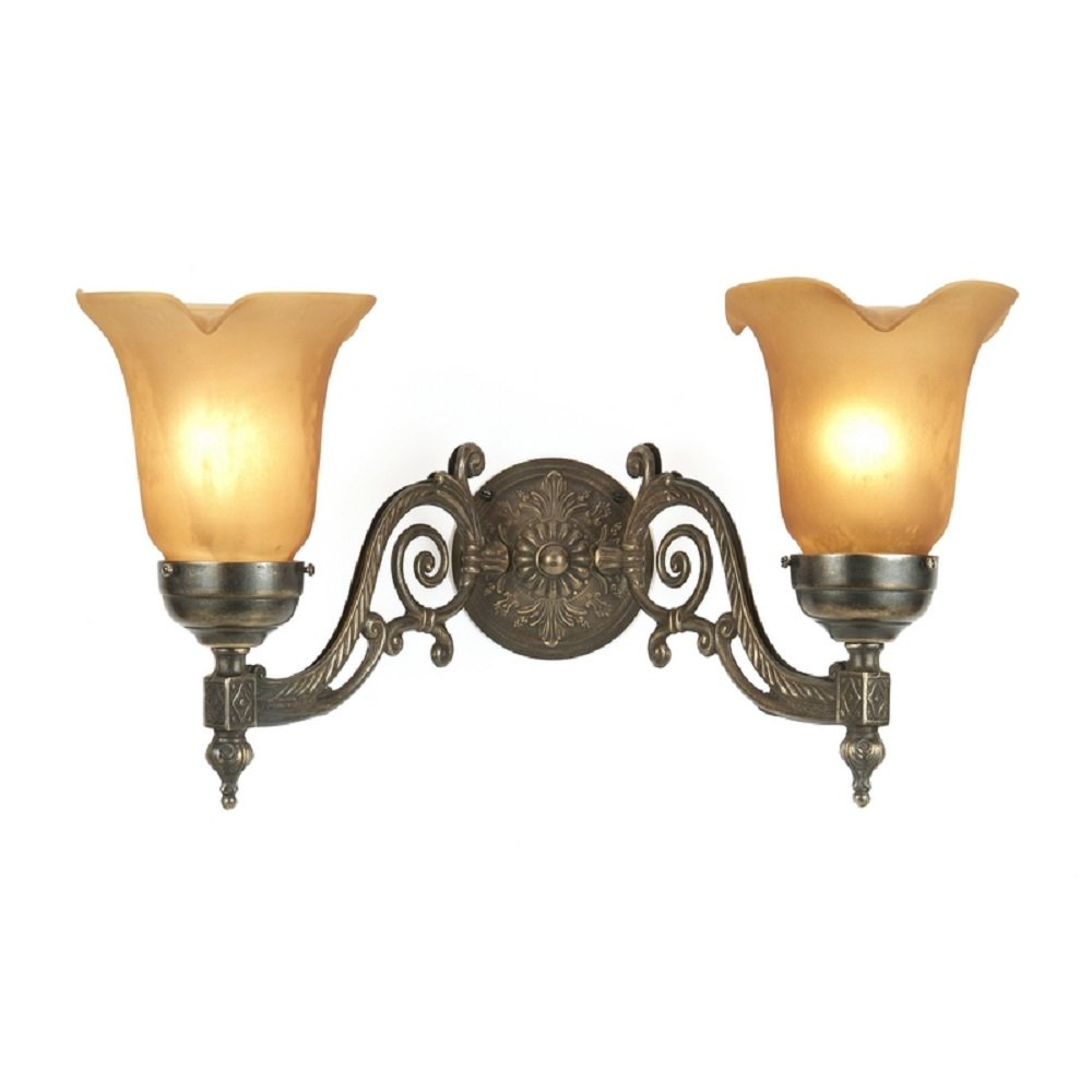 Victorian style aged brass double wall light with amber for Classic home lighting