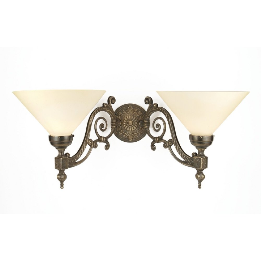 Dark Aged Brass Twin Wall Light for Victorian or Edwardian Interiors