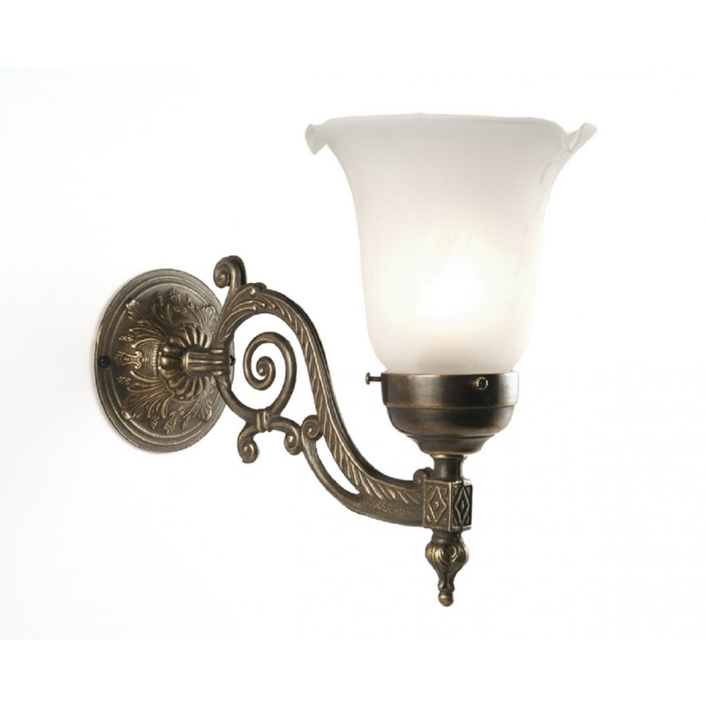 Edwardian Style Wall Light, Choice of Shades, Dark Aged Brass Fitting