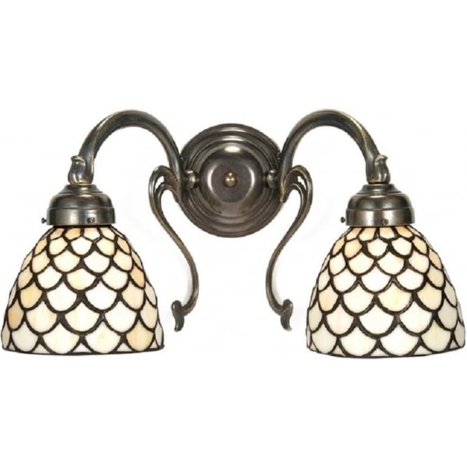Victorian Replica Aged Brass Double Wall Light, Tiffany Glass Shades
