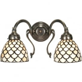 ARROW aged brass wall light Tiffany glass shades