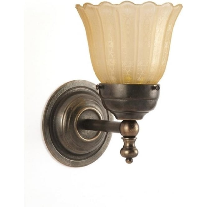Victorian style single wall light aged brass with amber etched shade ashby compact single victorian style wall light aloadofball Images