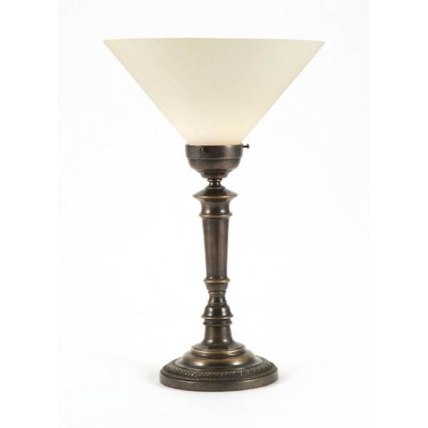 Candlestick Style Aged Brass Table Lamp White Uplighter