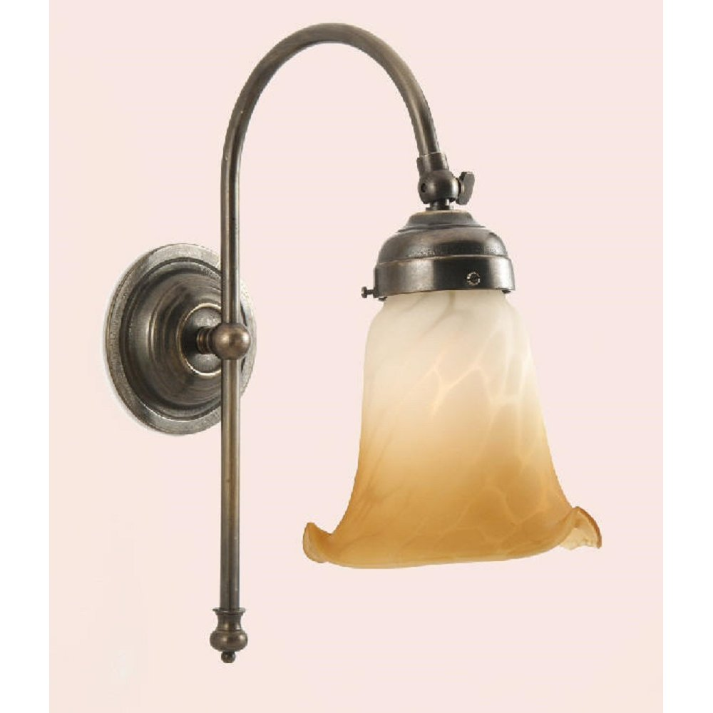 Wall Light in Dark Aged Brass Metal, Amber White Alabaster Shade