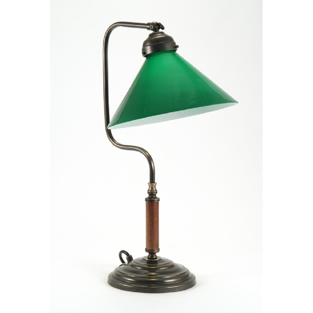 Traditional Desk Light Victorian Replica Study Lamp With Green Shade