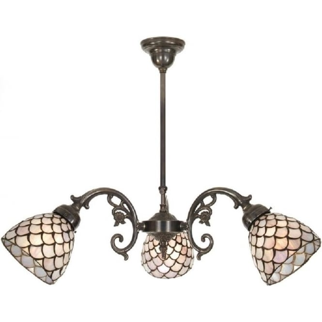 Period Lighting Collection ELIZABETH aged brass Victorian ceiling light, Tiffany glass shades