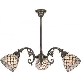 ELIZABETH aged brass Victorian ceiling light, Tiffany glass shades